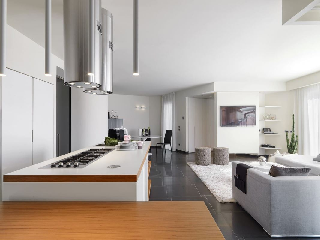 internal view of a modern kitchen  overlooking on the living room and the entrance