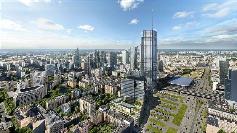 Wieżowiec Warszawa Varso i panorama Warszawy