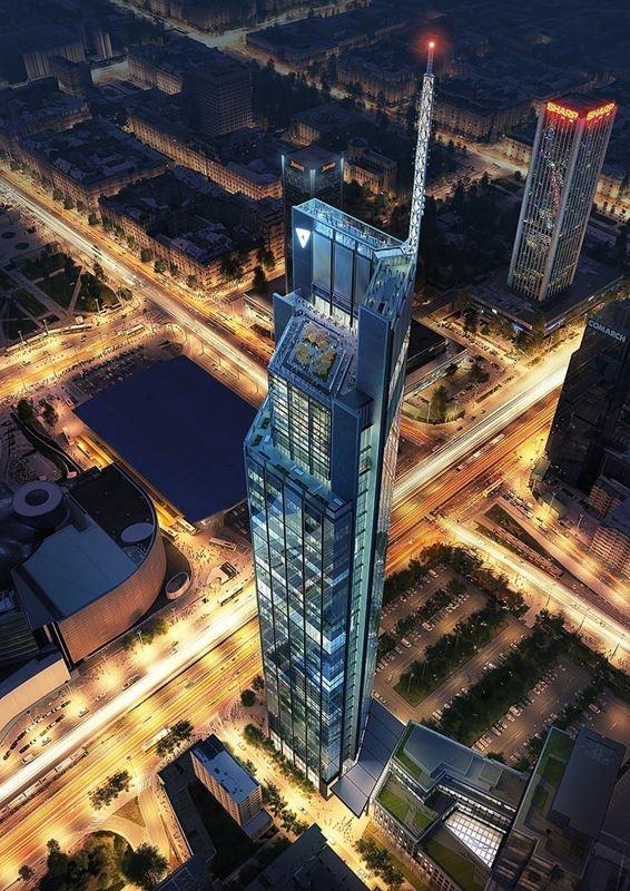 Varso Tower najwyższy wieżowiec Warszawa z powietrza