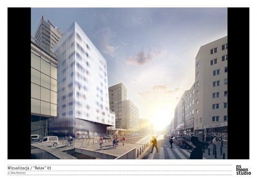 Wieżowiec Warszawa czas na relax wizualizacja apartamentowca w miejscu kina Relax