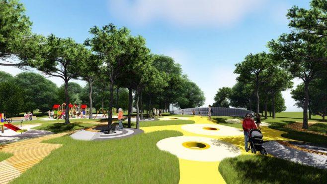 Plac Zabaw dla dzieci w Parku Kultury w Powsinie wizualizacja inwestycji