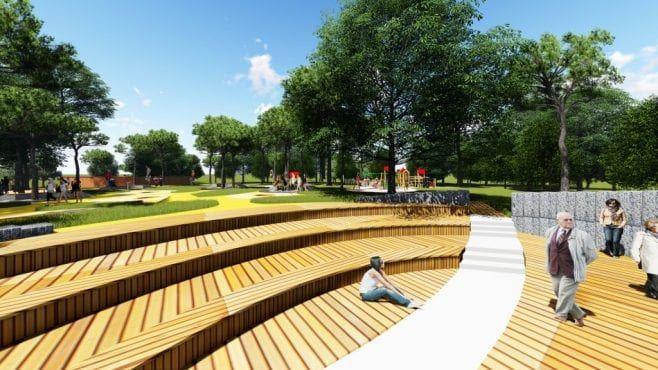 Plac zabaw w Parku Kultury w Powsinie wizualizacja