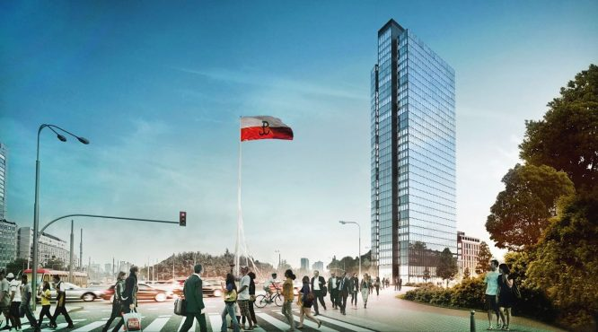 wieżowiec warszawa wola Liberty widok z ulicy