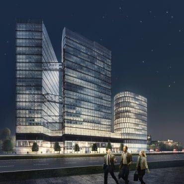 wieżowiec warszawa wola The Warsaw Hub wizualizacja budynku nocą