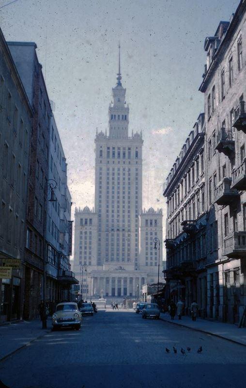 Pałac Kultury i Nauki, widok od strony ulicy Złotej.