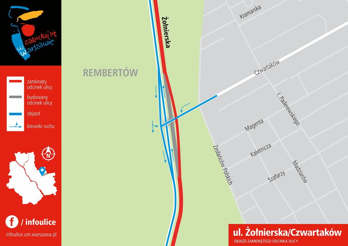 wezel-zolnierska-czwartakow-objazd-zamknietego-odcinka-ulicy