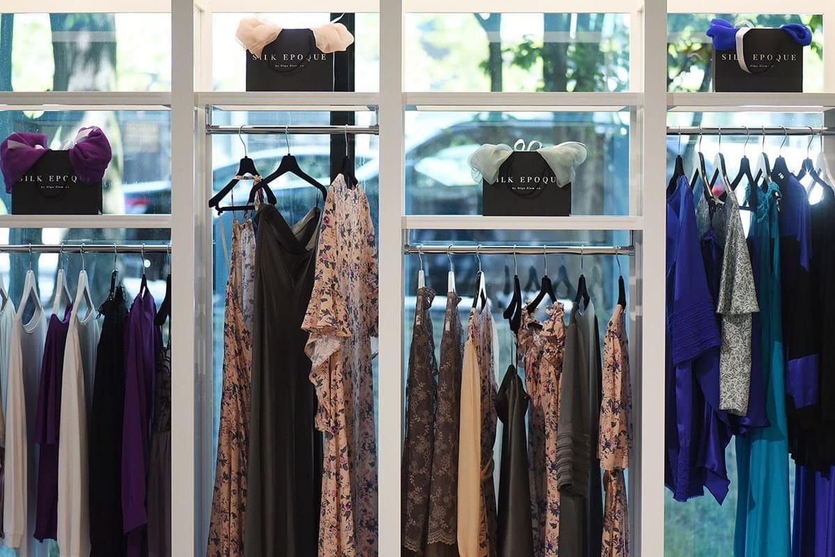 silk epoque jedwabna odzież sukienki spodnie spodnice lampy