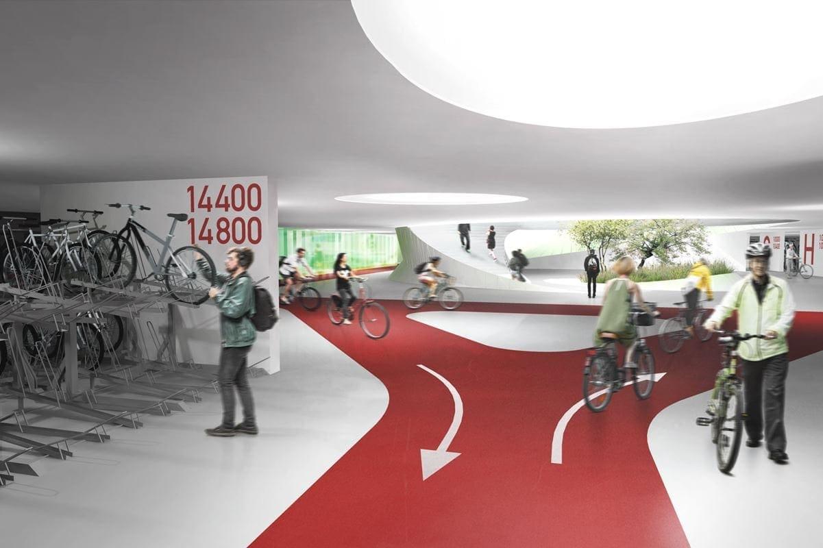 Od 15 do 20 tys. rowerów pomieści parking, w ramach którego umieszczona zostanie również największa w Warszawie stacja roweru miejskiego, oferująca rowery indywidualne dla dorosłych i dzieci, tandemy oraz rowery cargo. Obok ulokowany zostanie serwis, manufaktura rzemieślnicza, gdzie będzie można zrealizować marzenia o rowerze budowanym według indywidualnego pomysłu oraz przechowalnia bagażu i zespół sanitarny z prysznicami dla rowerzystów.