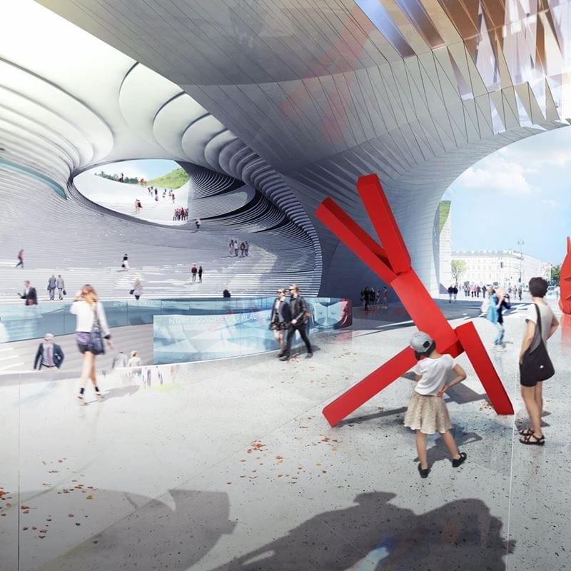 Przestrzeń miasta zostaje oddana pieszym. Zamknięcie ulicy Królewskiej umożliwi stworzenie Placu Sztuki pomiędzy Zachęta oraz jej nowym skrzydłem. Przestrzeń Placu Sztuki będzie gościć wystawy zewnętrzne, które będzie można umieszczać na płycie placu lub podwieszać do zadaszenia.